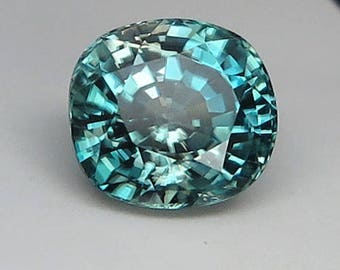 10.46 ct  Natural  Unheated Blue Zircon Cushion Unheated