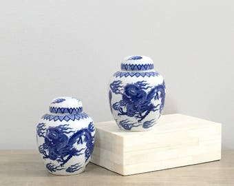 Vintage Ginger Jar Pair Blue White Porcelain Chinese Ginger Jars Petite Asian Dragon Motif Chinoiserie Chic