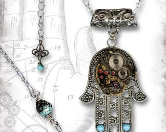 Hamsa Hand Steampunk Necklace - Za Dee Da - The Mystic Seeker Collection - The Hand of Time Two
