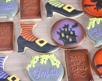 Halloween Witch Cookie Set, Book Of Spells Cookies, Cauldron Cookies, Witch Shoe Cookie, Haunted House Cookies, Halloween Party Favor