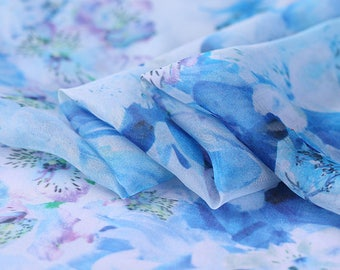 """100% fine silk chiffon fabric, floral digital printed blue  53""""/135cm 6mm for Summer Dresses, blouses, skirts, Scarves, by the yard"""