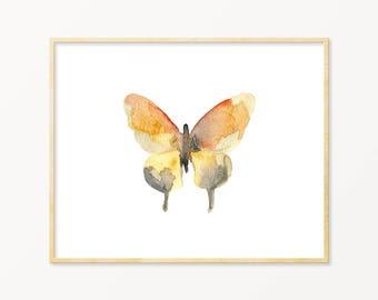 Watercolor Butterfly Art Print. Orange & Gray Butterfly Art. Pastel Butterfly Wall Decor. Baby Shower Gift. Modern Nature Gallery Wall Art.