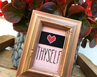 Mini Rehabbed Rose Gold Wooden Framed Cross Stitch - Never Never Never Give Up