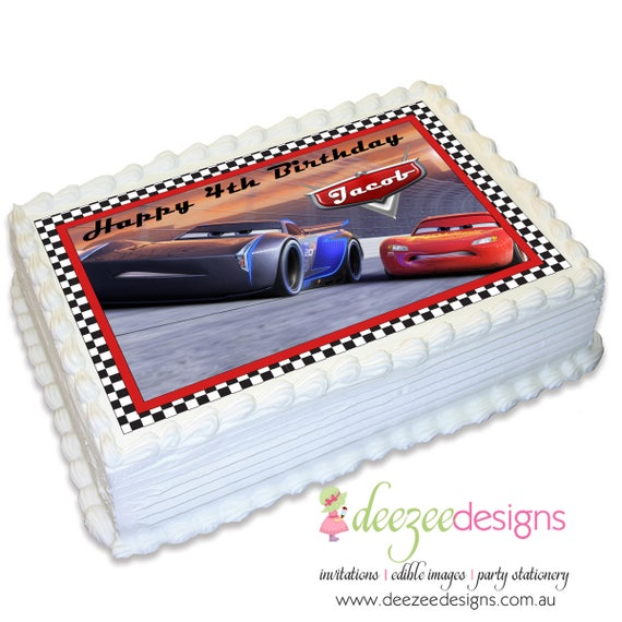 Cars 3 A4 Edible Icing Cake Topper - EI155A4