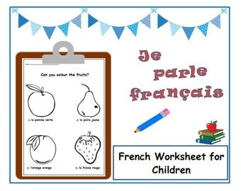KIDS WORKSHEET Colour Words French Learning /Colouring French for Kids/Language Learning French Classroom/Colouring sheet Language Worksheet
