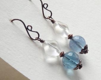 Blue Fluorite Earrings with Unusual Clear Glass Diamond Dangle, Boho Copper Jewelry for Summer