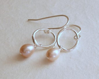 Blush Pink Freshwater Pearl Earrings, Fine Silver Hoops, Small Sterling Silver Earrings, Bridal Jewelry