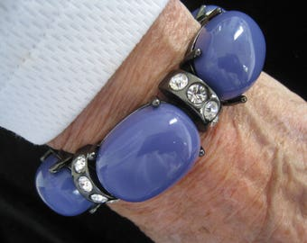 Purple Chunky Cabochon Bracelet with Rhinestone Links Alternating.  Dark Gunmetal Finish.  Stretches to fit on heavy doubled stretch band.