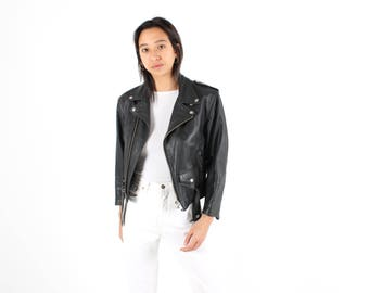 Perfectly Tailored 80s Minimal + Classic Staple Leather Motorcycle Punk / Biker Jacket