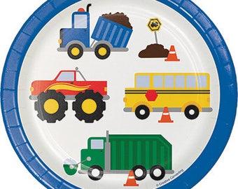 Traffic Jam Dessert Plates, Cars and Trucks Paper Plates, Vehicles Dinnerware, Luncheon Plates