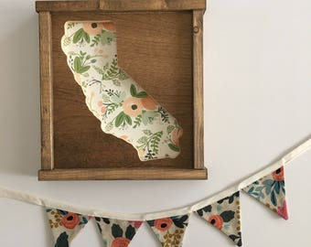 MINI Rifle Paper Co. Fabric Banner. Floral Fabric Banner. Foral Bunting. Rifle Paper Co. Bunting. Rosa in Natural Canvas Linen Floral Banner