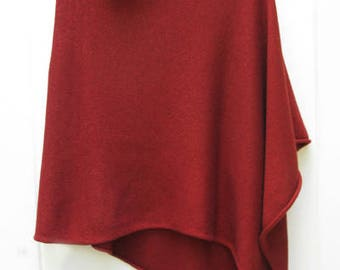 Rustic red 50/50% cashmere silk poncho