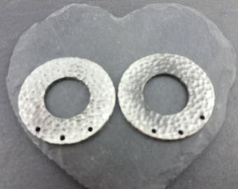 DESTASH pair silver ring connectors