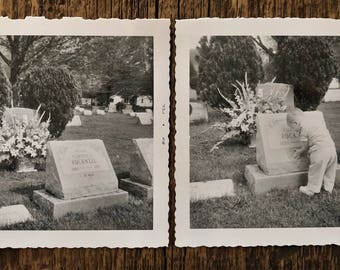Pair of Original Vintage Photographs   Baby at Grave   1956