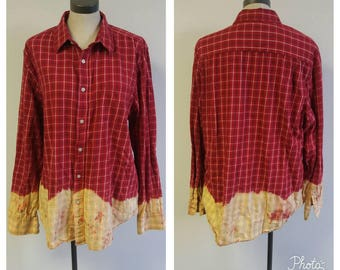 Upcycled Clothing, Dip Dyed Red and Navy Plaid Shirt, Vintage Flannel Shirt, Bleach Dyed, Reclaimed Button-up Grunge Shirt, Mens XL #119