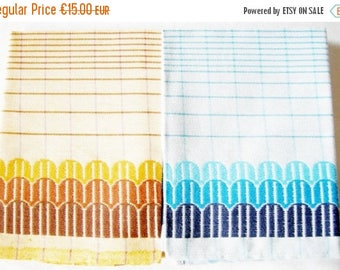 SUMMER SALE- Set of 2 Pieces German Vintage Retro Cotton Kitchen Dish towels from the 70ies  / new and unused