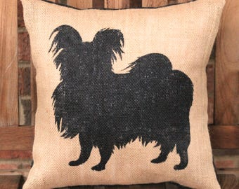 Hand Painted Papillon dog on Burlap Pillow Cover