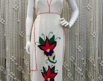 70s boho whipstitch embroidered halter dress/ made from recycled feed sack