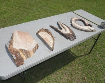UNFINISHED Live Edge Slab Set of 4 Walnut and Pecan Live Edge Set, Perfect for DIY, Raw Wood Slab, Wood Workers Delight, Rustic Shelf 206