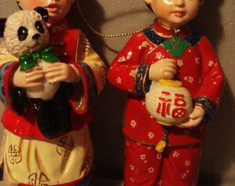 Vintage 1950s From the Orient Girl and Boy Christmas Ornaments