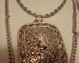 Vintage Three Strand Chain Necklace with Square Pendant