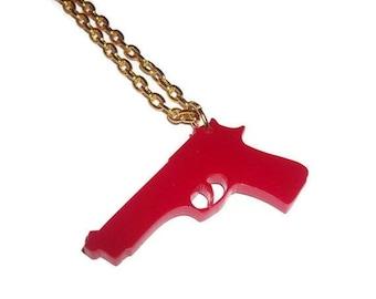 Red Gun Necklace, Gold Chain Laser Cut Acrylic Pistol Pendant