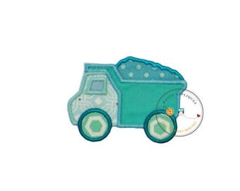 ON SALE NOW Small baby blue dump truck. Iron embroidered fabric applique patch embellishment-ready to ship