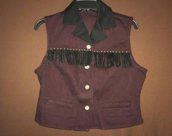 Purple Cowgirl Fringe Vest // vintage