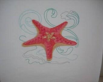 Starfish Flour Sack Towel. Machine Embroidered.