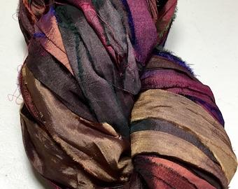 Recycled Sari Silk Ribbon 321 Rustic Burgundy Purples Browns Tassel Ribbon Jewelry Fair Trade Silk Fiber Art Felt Knit Crochet Supply