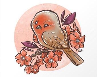 Spring Sparrow Print 8x8