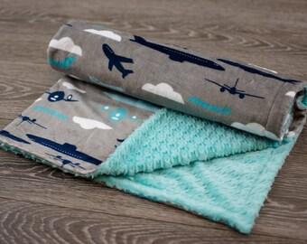 Airplane Baby Blanket - Minky Baby Blanket - Airplanes Blanket - Airplanes Baby Blanket - Boy Baby Blanket - Baby Blankets - Airplanes