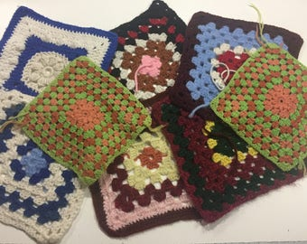 Set of 8 Square Hand Crochet squares for crafts, boho, shabby chic, home decor,crafts, shabby chic, bags by MarlenesAttic