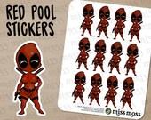 Red Pool Dead Character Stickers Period Tracker - Erin Condren, Happy Planner, Kikki K, Filofax, Decorative