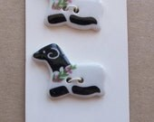 new old stock ceramic black and white sheep motif buttons--matching lot of 2