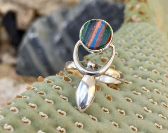 Rainbow . Calsilica . Sterling Silver . Goddess . Ring . Size 6 1/2