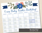 Baby Due Date Calendar - Baby Shower - Guessing Game - JPG - PDF - You Choose Your Size - Printable - 8 x 10 - 11 x 14 - 16 x 20 Standard