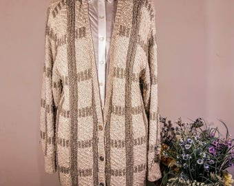 PAUL ALEXANDER Vintage Long Knit Sweater Cardigan 1980's in salmon & taupe