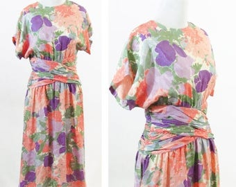 SUMMER SALE Vintage 80s Maggy London Silk Floral Sundress- Garden Party Tea Time Dress - 80s does 40s style dress- Casual Day Dress - Ladies