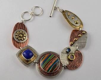 Stone Bracelet - Metalsmith Bracelet - Mixed Metal Bracelet - Artisan Jewelry