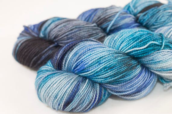 Hand dyed Sock Yarn, Atlantis Colorway, Blue Multi-Colored Superwash Merino and Nylon Sock Yarn.