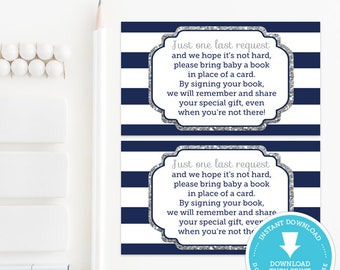 Navy and Silver Book Request Card Insert, Navy and Silver Baby Shower, Baby Shower Games, baby shower printable, Boy Baby, Instant Download