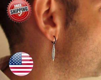 Mens Earring, Single Feather Earring for Men, Men's Jewelry - Black Mens Hoops - Mens Hoop Earrings - Guys Earrings -  goth Gothic - BF12MM