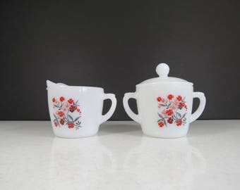 Fire-King Cream and Sugar Set // Vintage Milk Glass Primrose Floral Pattern Serving Set Sugar Bowl with Lid and Creamer Milk Pitcher Retro