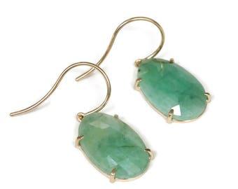 14K Gold Emerald  Earrings, Oval Rose Cut Cabochon Earring Drops Green Gemstone Earrings Solid Gold  , Artisan Handmade by Sheri Beryl