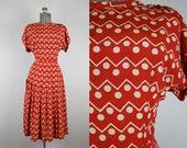 1940's Red and Cream Polka Dot Rayon Dress / Size Medium