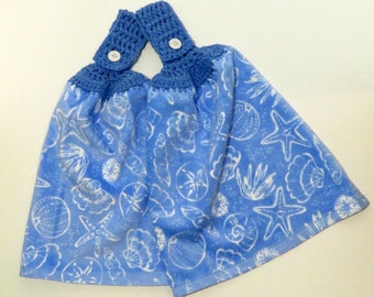 Sea Shells Crochet Top Kitchen Hand Towel Set of 2