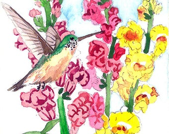 ACEO Limited Edition 1/25 - Hummingbird approching snapdragon flowers, Bird Art print of an original ACEO watercolor painted by Anna Lee