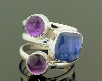 Tanzanite Amethyst Ring // 925 Sterling Silver // Ring Size 6.5 // Handmade Jewelry