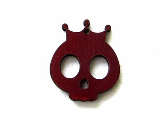 Skull crowned wooden laser cut, Burgundy color